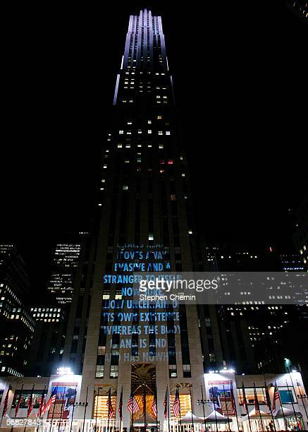 Text is projected onto a building in Rockefeller Center as part of a pulbic art project by Jenny Holzer September 29 2005 in New York City In an...