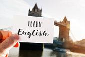 text learn English in London, UK