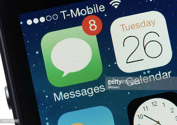 text messages on an iphone - calendar icon stock photos and pictures