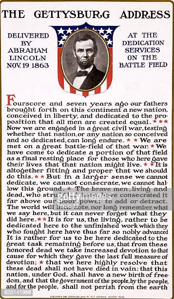 Text of The Gettysburg Address delivered by Abraham Lincoln on 19 November 1863 at the dedication of the Soldiers' National Cemetery at Gettysburg on...
