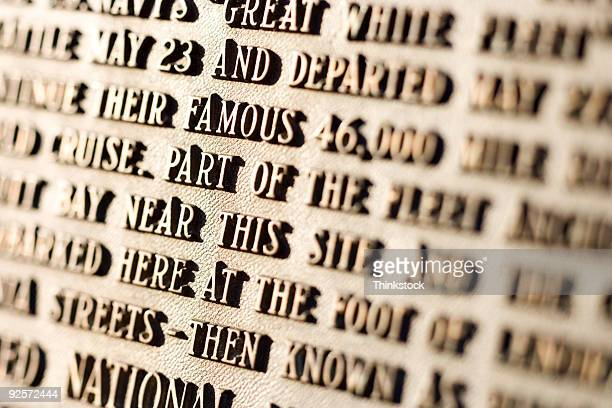 text on historical memorial - bronze medal stock pictures, royalty-free photos & images