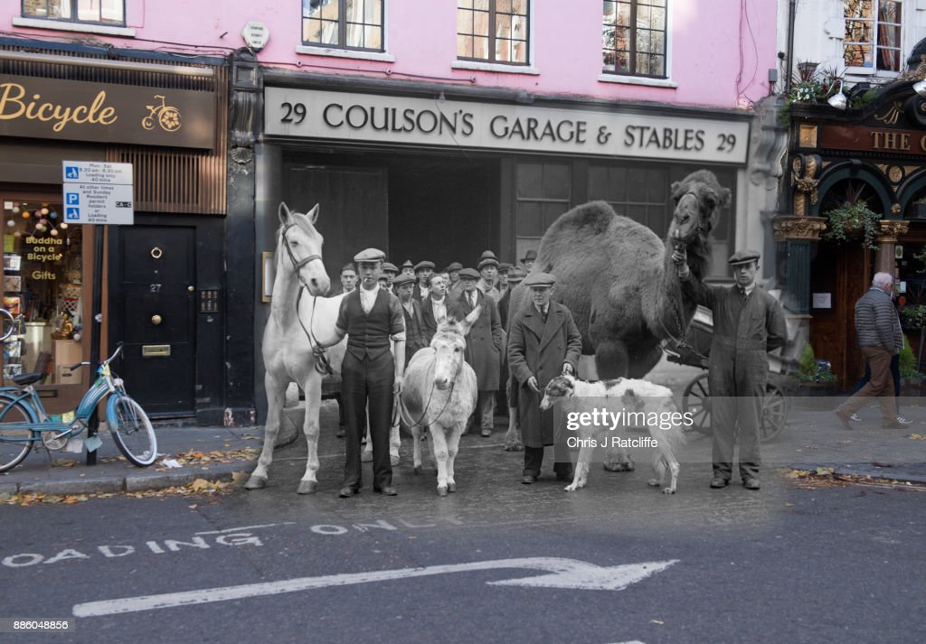 Stars of 'Song of the Drum' at Drury Lane Theatre at Endell Street in 1930 and the same street in 2017.