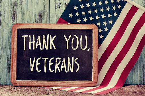 text thank you veterans in a chalkboard of the US 494159148