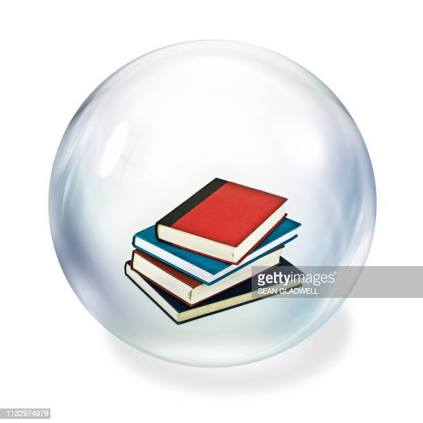 textbooks inside bubble - school icon stock photos and pictures