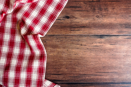 Textile background with a checkered red napkin, top view. Natural textile background. Fabric texture background. Texture of natural linen fabric. - gettyimageskorea