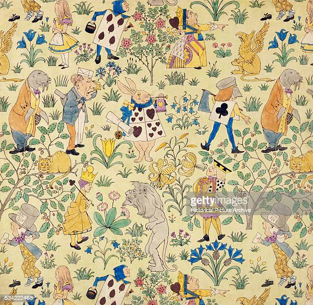 Textile Design for Alice in Wonderland by Charles Francis Annesley Voysey