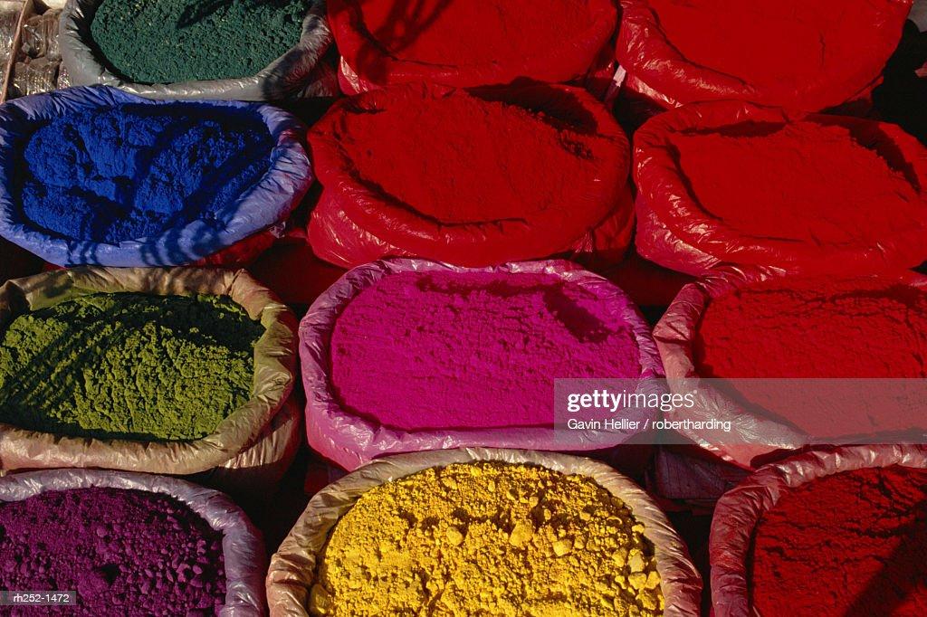 Textile dyes, Kathmandu, Nepal, Asia : Foto de stock