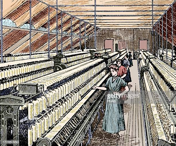 Textile Industry 19th century Ring Spinning Manufacturing process of cotton yarn Women working in the roving Colored engraving