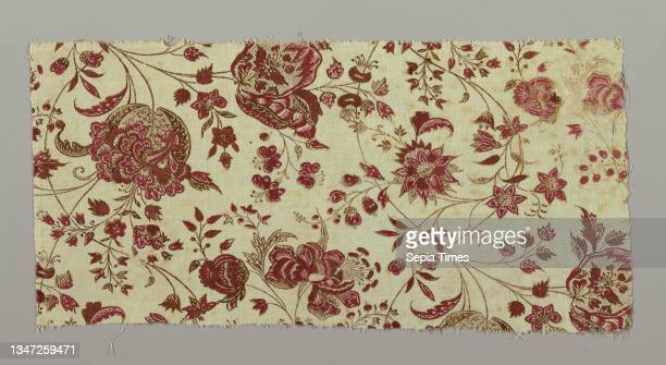 Cotton Technique: printed cloth, Fragment of cream-white cotton, hand-woven, block-printed in red and brown; design of flower sprays intertwining on...