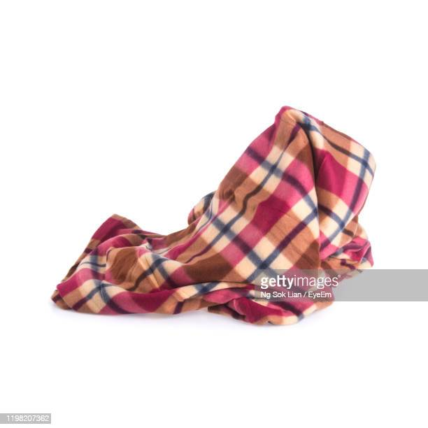textile on white background - blanket stock pictures, royalty-free photos & images