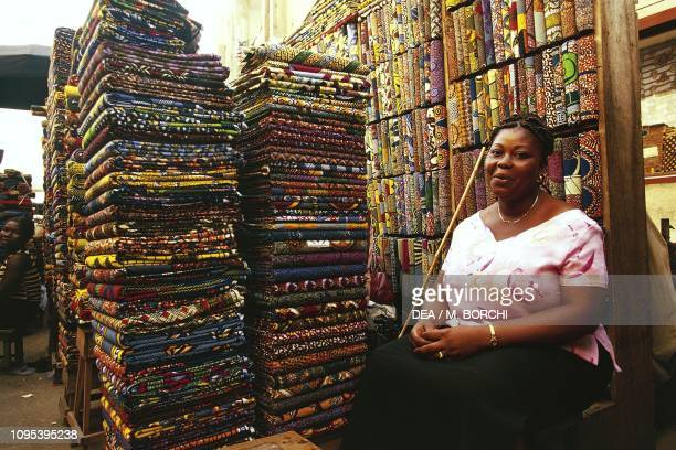 Textile seller at the market , Lome, Togo.