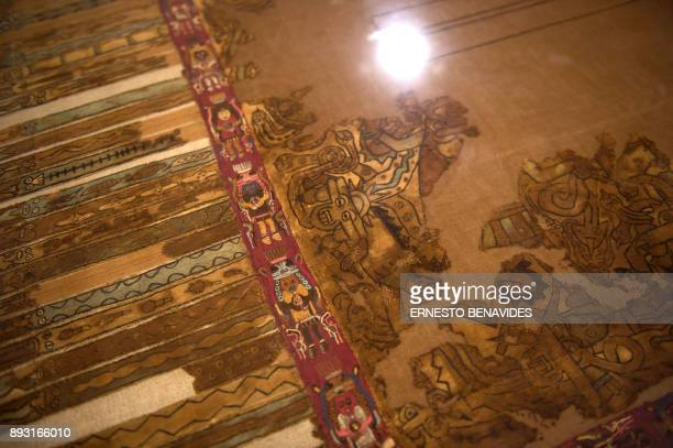 Textiles belonging to the preInca Paracas culture dating to 700 BCE100 BCE are shown at Peru's Culture Ministry in Lima on December 14 2017 Fifty...