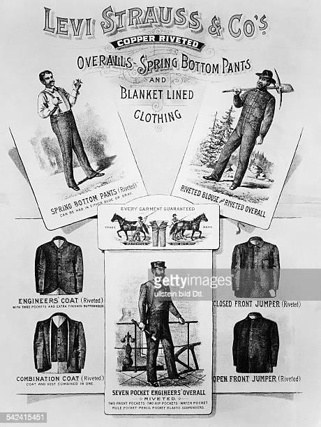 Textilindustrie USAPlakat für Hosen Latzhosen und Jacken von Levi Strauss um 1880
