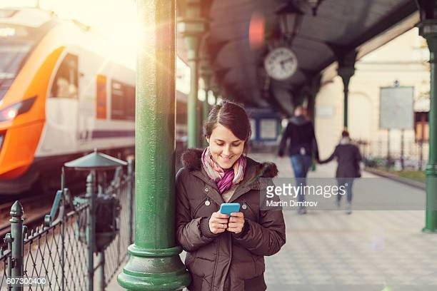 Texting at the train station