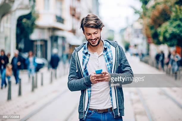 Texting at urban scene