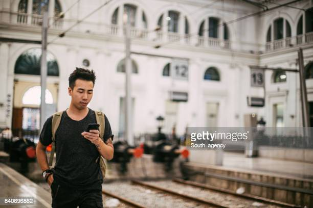 Texting by the railroad track
