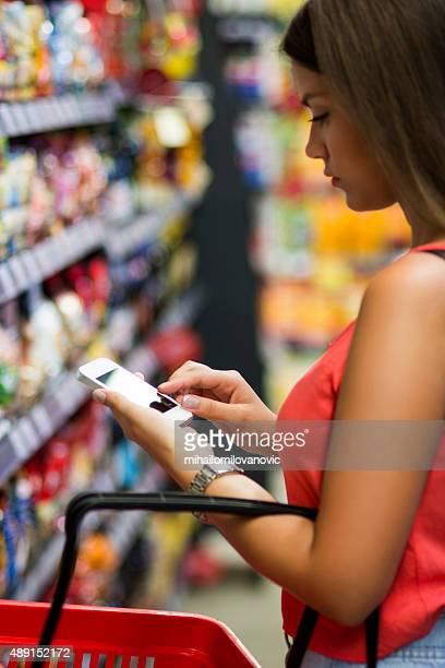 Texting in grocery store