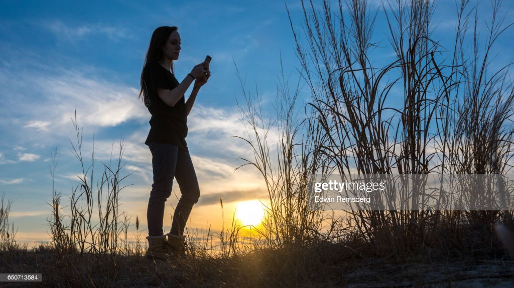 Texting on the beach : Stock Photo