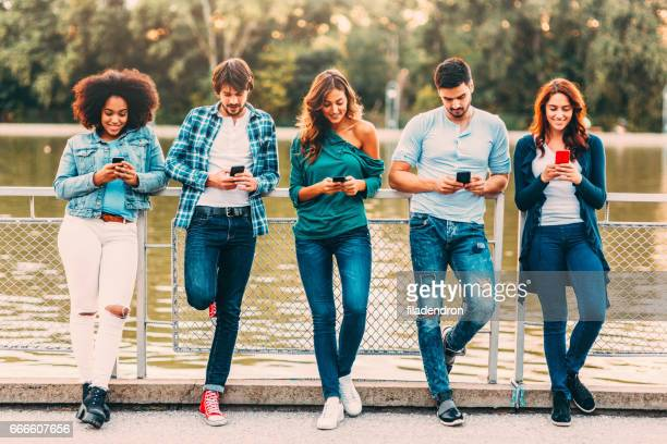Texting separately outdoor