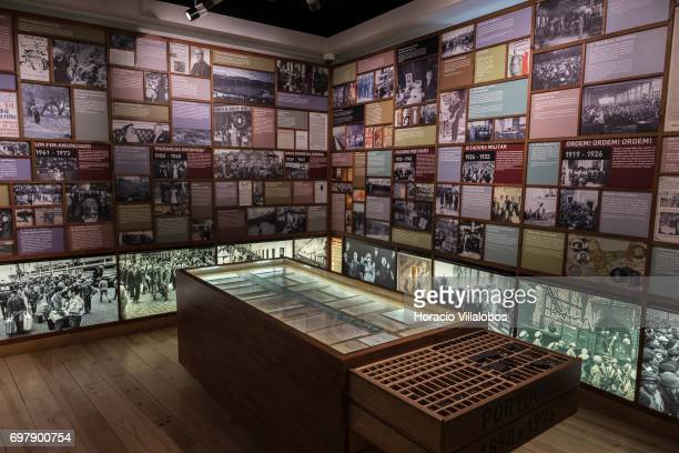 Texts and images of the Portuguese dictatorship period are seen on display at the Aljube Museum Resistance and Freedom on June 18 2017 in Lisbon...