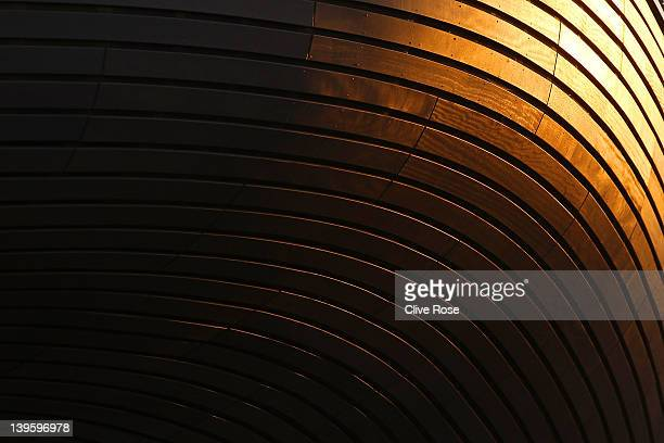 A texture detail of the exterior panels of the London Aquatics Centre on February 23 2012 in London England
