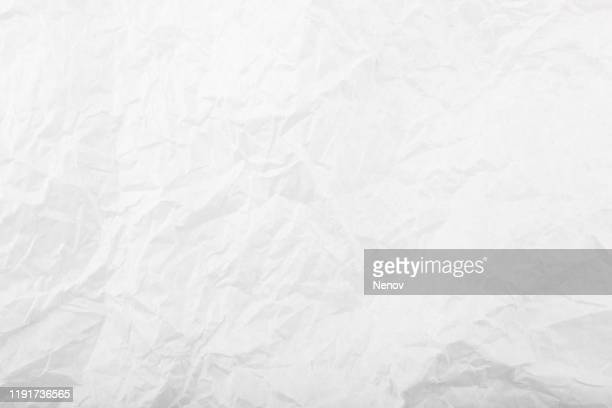 texture of crumpled white paper - full frame stock pictures, royalty-free photos & images