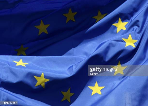 texture of european union flag - flag stock pictures, royalty-free photos & images