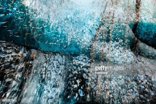Texture of ice wall in Ice Cave Iceland