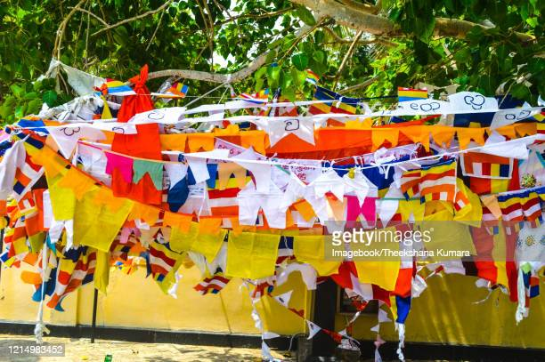 texture of prayer flags in nagadeepa buddhist temple - imagebook stock pictures, royalty-free photos & images
