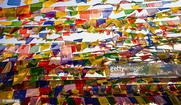 Texture of prayer flags in Nepal
