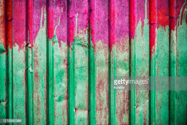 texture of rusty zinc sheet used on the exterior wall or roof of a building, vintage background. - 亜鉛 ストックフォトと画像