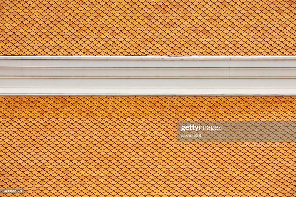 texture of temple roof tiles : Stock Photo