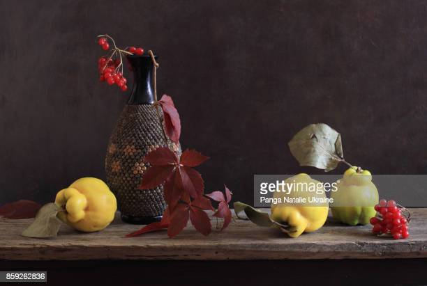 textured vase and quinces - nature morte photos et images de collection