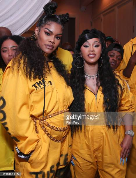 """Teyana Taylor and Cardi B attend the Teyana Taylor """"The Album"""" Listening Party on June 17, 2020 in Beverly Hills, California."""