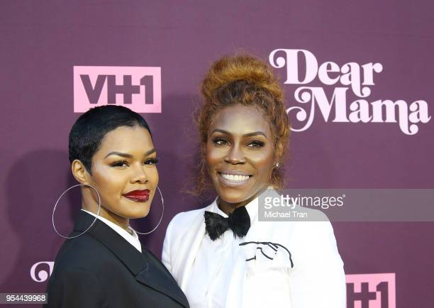 Teyana Taylor and her mom Nikki Taylor arrive to VH1's 3rd Annual 'Dear Mama A Love Letter To Moms' held at The Theatre at Ace Hotel on May 3 2018 in...