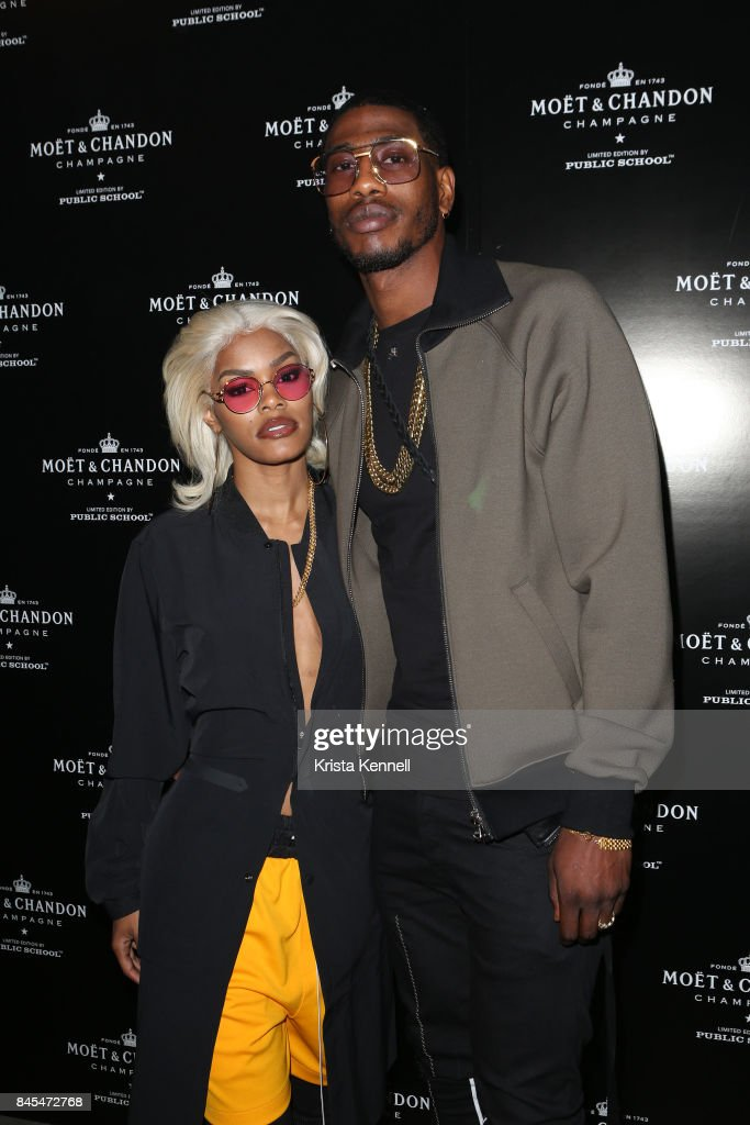 Teyana Taylor and Iman Shumpert attend the Moet & Chandon x Public School Launch on September 10, 2017 in New York City.