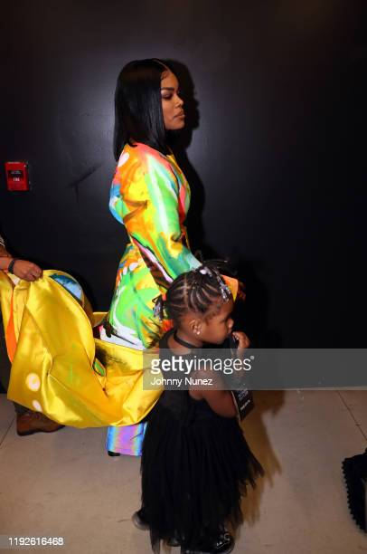 Teyana Taylor and Iman Tayla Shumpert Jr backstage at Faena Forum on December 06 2019 in Miami Beach Florida