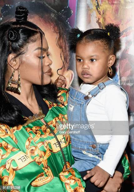 Teyana Taylor and Junie Shumpert attend the Junie Bee Nail Salon grand opening on February 15 2018 in New York City