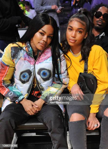 Teyana Taylor and Lori Harvey attend a basketball game between the Los Angeles Lakers and the Sacramento Kings at Staples Center on December 30 2018...