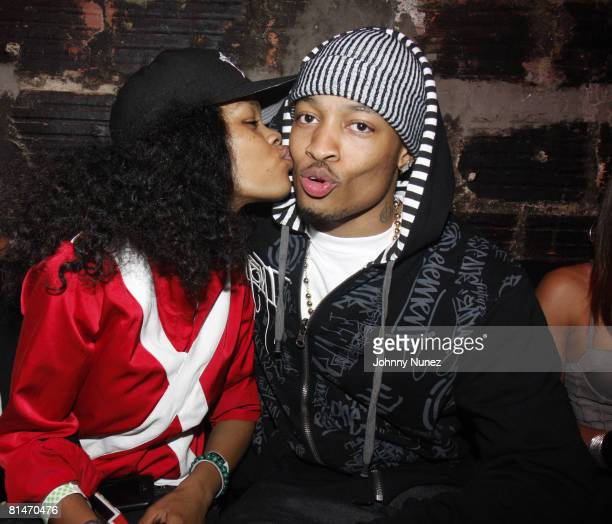 Teyana Taylor and Qwanell of Day26 attends Chris Brown's 19th Birthday Party May 13 2008 at Rebel NYC in New York