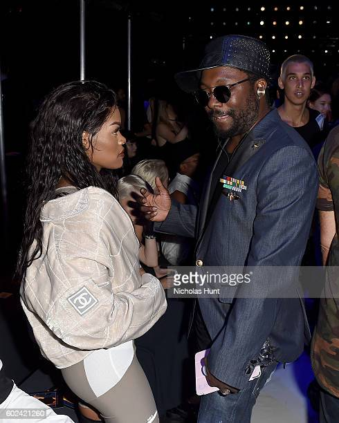 Teyana Taylor and WillIAm attend the Hood By Air fashion show during New York Fashion Week The Shows at The Arc Skylight at Moynihan Station on...