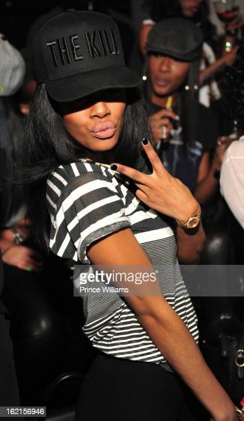 Teyana Taylor attends a party hosted by Bow Wow and Teyana Taylor at Compound on February 9 2013 in Atlanta Georgia