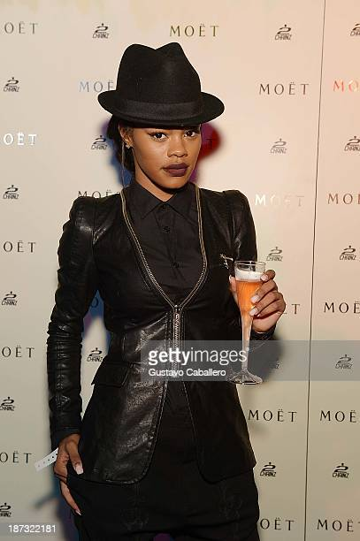 Teyana Taylor attends Moet Rose Lounge Miami Hosted By 2 Chainz at Delano South Beach on November 8 2013 in Miami Beach Florida