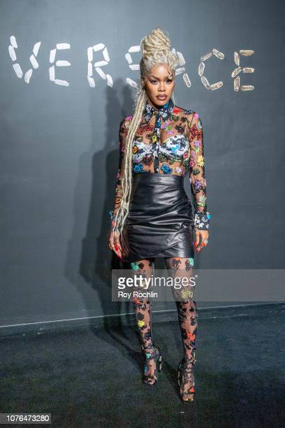 Teyana Taylor attends the the Versace fall 2019 fashion show at the American Stock Exchange Building in lower Manhattan on December 02, 2018 in New...