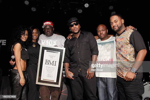 Teyana Taylor Catherine Brewton Greg Street Young Jeezy Mr Collipark and Byron Wright on stage during BMI's 15th annual Unsigned Urban showcase at...