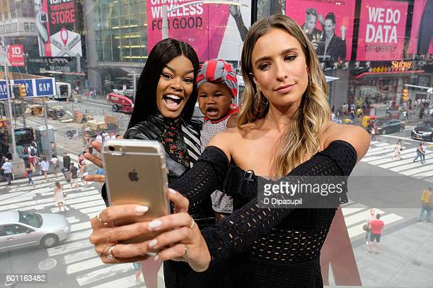 Teyana Taylor daughter Iman Junie Shumpert and Renee Bargh pose for a selfie during their visit to Extra at their New York studios at HM in Times...