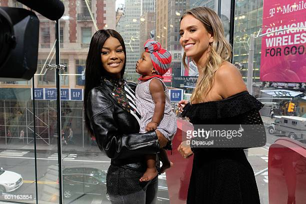 Teyana Taylor daughter Iman Junie Shumpert and Renee Bargh visit Extra at their New York studios at HM in Times Square on September 9 2016 in New...