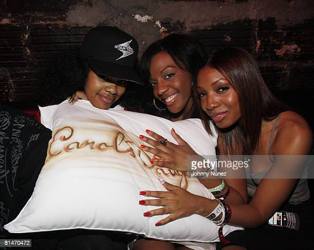 Teyana Taylor Dawn Richard and Winter Gordon attend Chris Brown's 19th Birthday Party May 13 2008 at Rebel NYC in New York