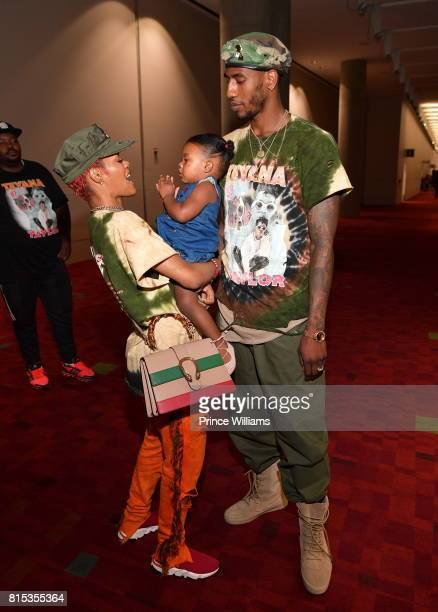 Teyana Taylor Iman Shumpert and Iman Tayla Shumpert Jr attend 2017 V103 Car and Bike Show GWCC Hall on July 15 2017 in Atlanta Georgia