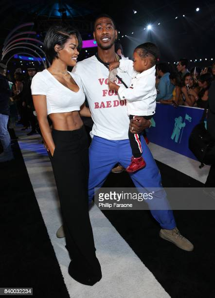 Teyana Taylor Iman Shumpert and Iman Tayla Shumpert Jr attend the 2017 MTV Video Music Awards at The Forum on August 27 2017 in Inglewood California